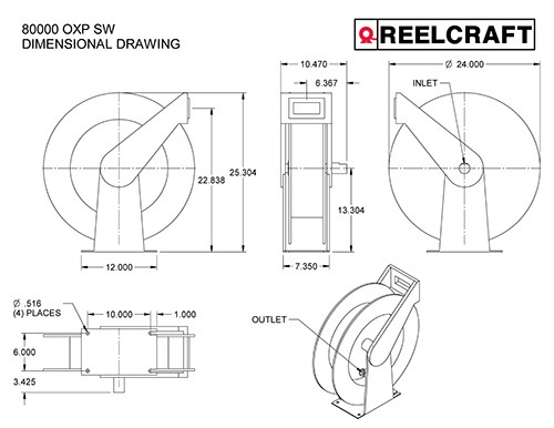 Reelcraft 82000 OMS-S Dual Pedestal Stainless Steel Hose Reel 75 Oil Hose Not Included