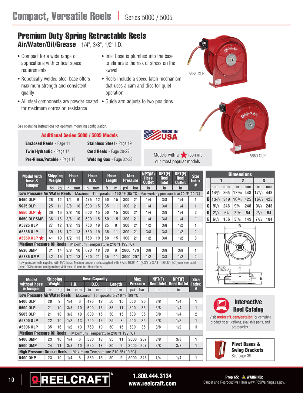 Reelcraft Catalog Page 10 - Series 4000/5000 Hose Reels