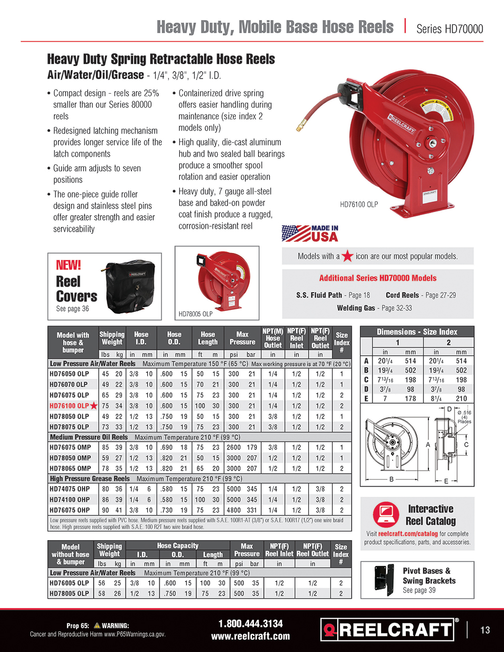 Reelcraft Catalog Page 13 - Series DP Hose Reels