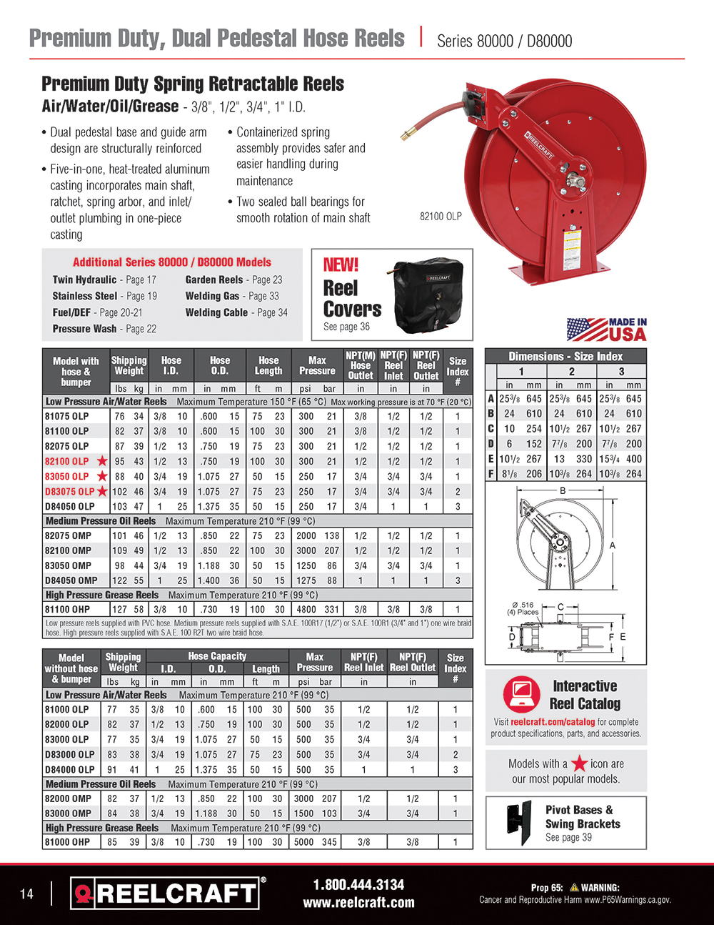 Reelcraft Catalog Page 14 - Series 80000 Hose Reels