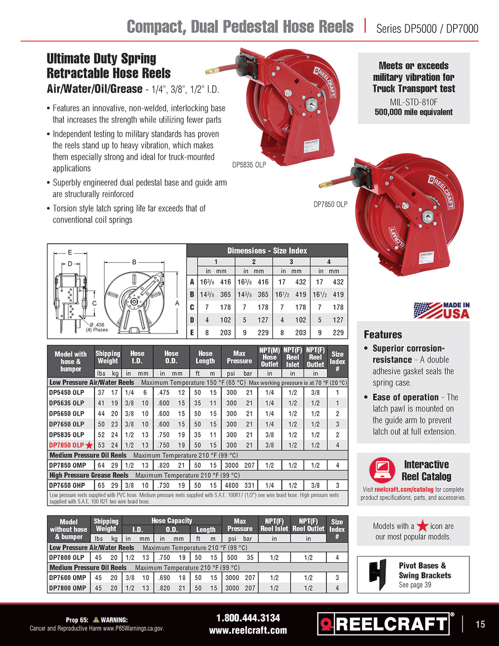 Reelcraft Catalog Page 15 - Series SD10000 Hose Reels