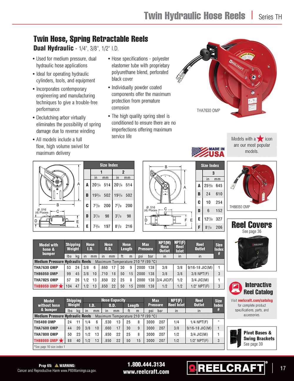 Reelcraft Catalog Page 17 - Series TH Hose Reels