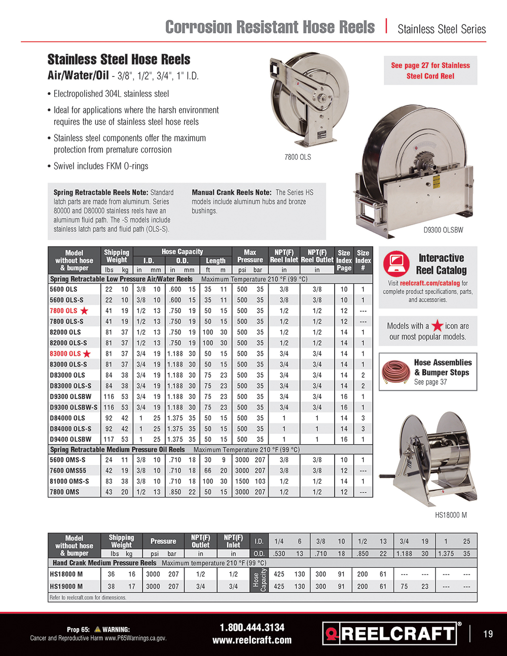 Reelcraft Catalog Page 19 - Stainless Steel Hose Reels