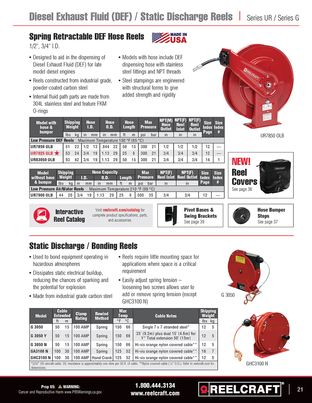 Reelcraft Catalog Page 21 - Series S Hose Reels