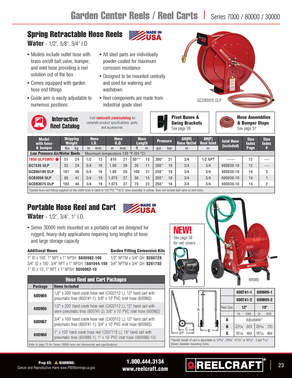 Reelcraft Catalog Page 23 - Series C Hose Reels
