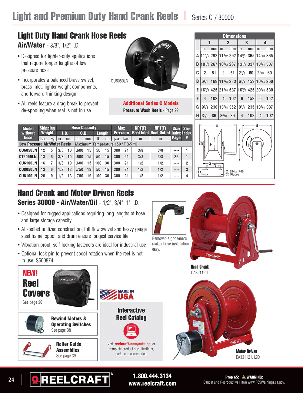 Reelcraft Catalog Page 24 - Series H & 30000 Hose Reels