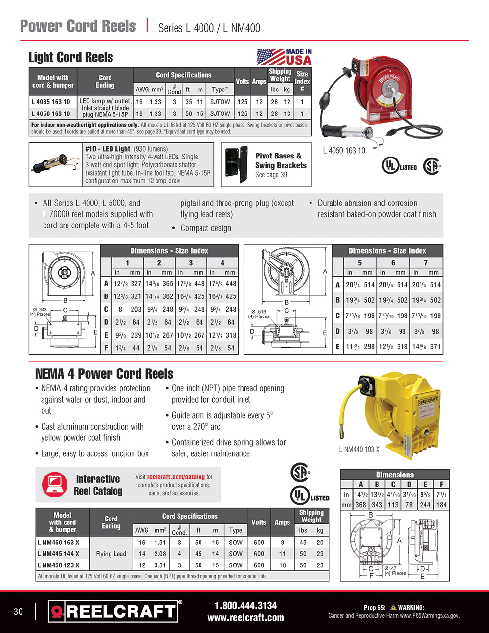 Reelcraft Catalog Page 30 -Series 2400 Hose Reels