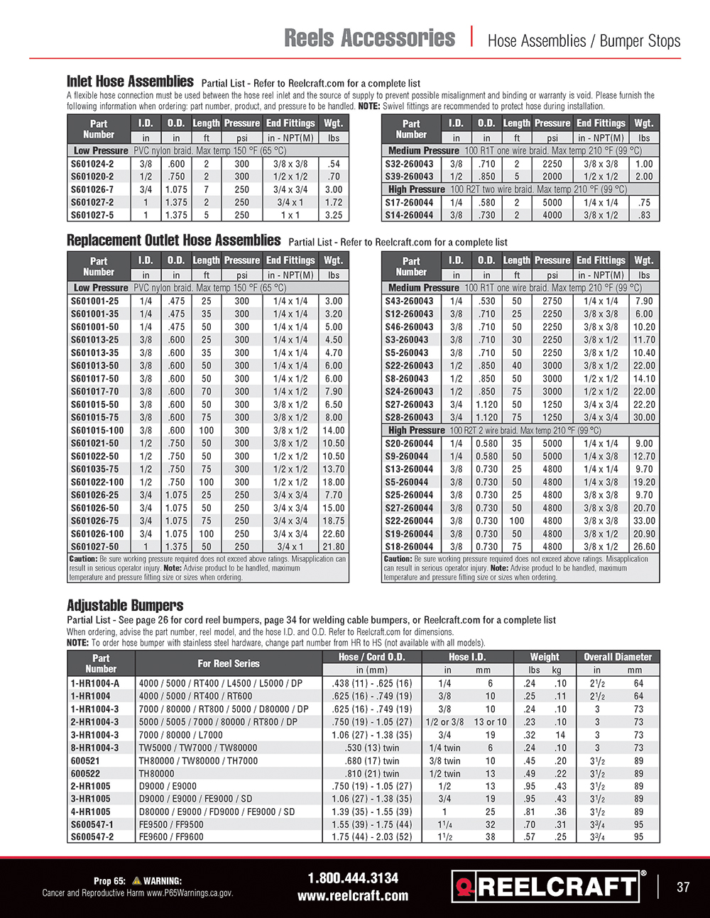 Reelcraft Catalog Page 37 - Power & Light Cord Reels