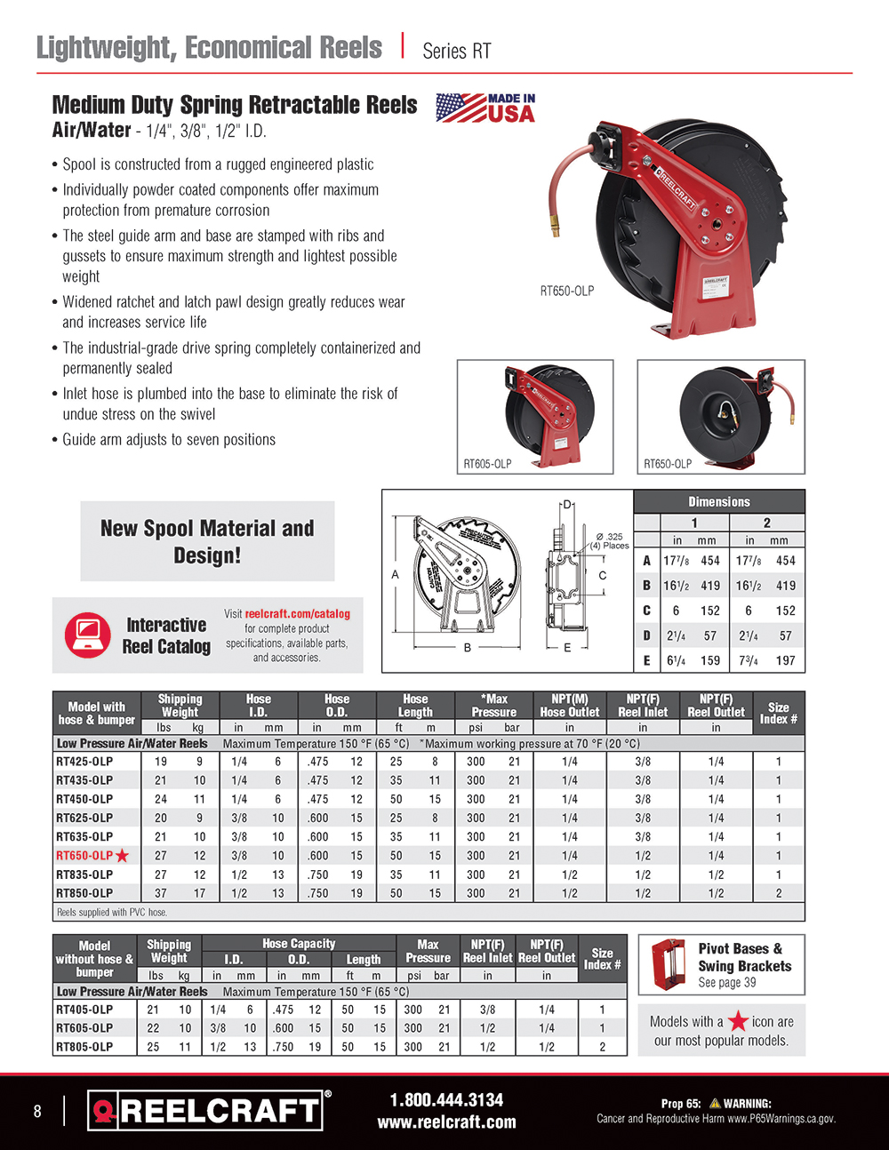 Reelcraft Catalog Page 8 - Series RT Hose Reels
